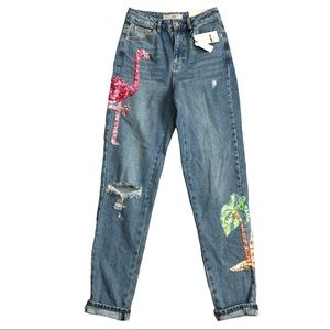 """TOPSHOP Sequin """"High Waisted/Mom/Tall"""" Jeans! 26"""